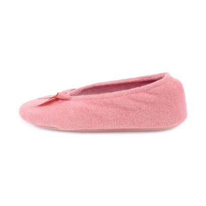 Isotoner Ladies Terry Ballerina Slippers Coral