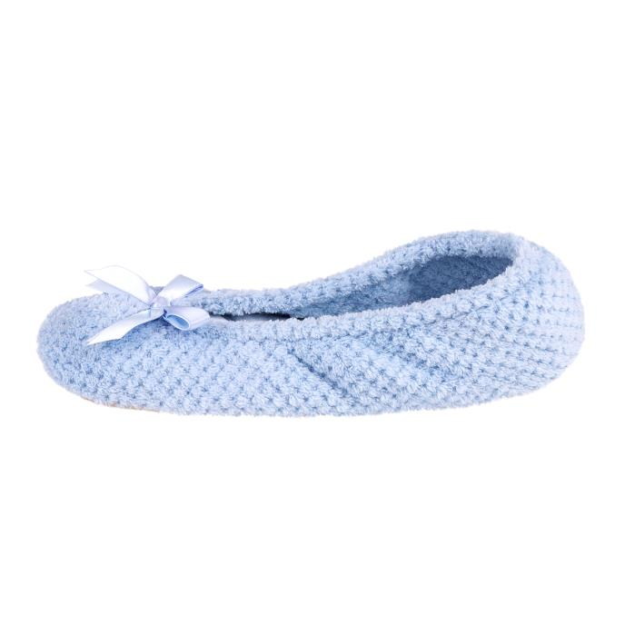 Isotoner Ladies Popcorn Ballet Slippers Pale Blue