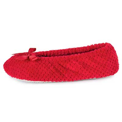 Isotoner Ladies Popcorn Ballet Slippers Red