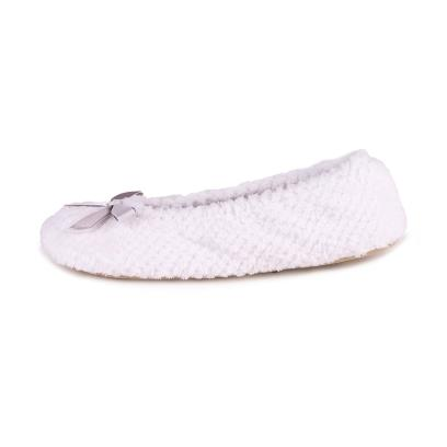 Isotoner Ladies Popcorn Ballet Slippers White and Marl Grey