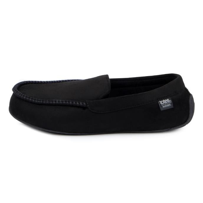 isotoner Mens Pillowstep Driving Moccasin Slippers Black/Grey
