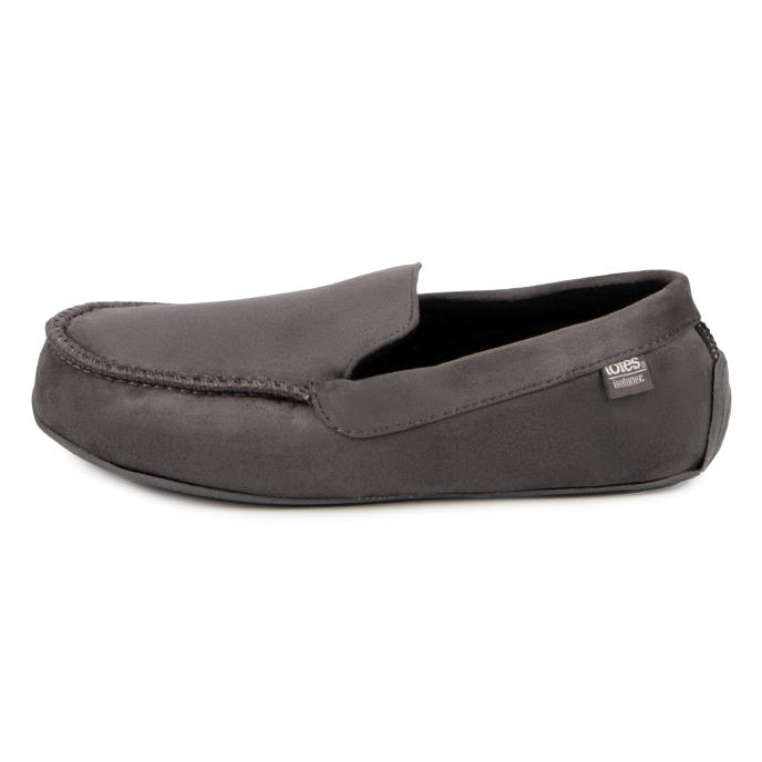 isotoner Mens Pillowstep Driving Moccasin Slippers Grey