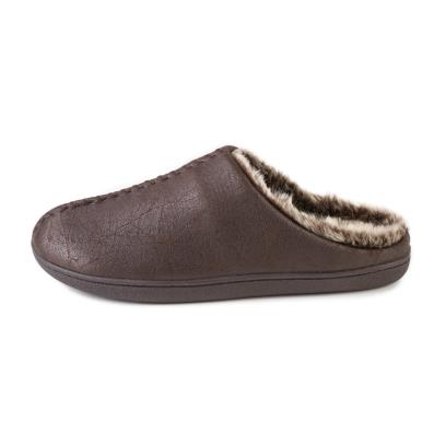 Isotoner Mens Distressed Mule Slippers Brown