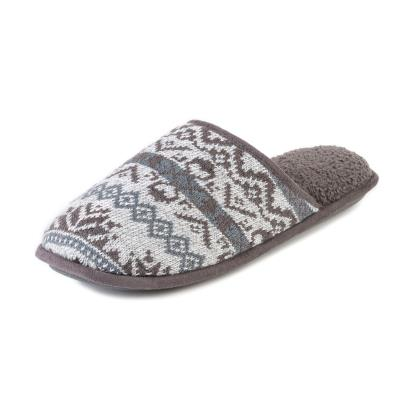 885fb9ec587a Isotoner Mens Fair Isle Knit Mule Slippers Grey Marl Extra Image 1