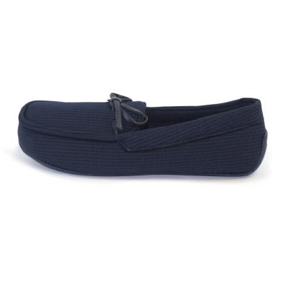 Isotoner Mens Woven Stripe Moccasin Slippers Navy