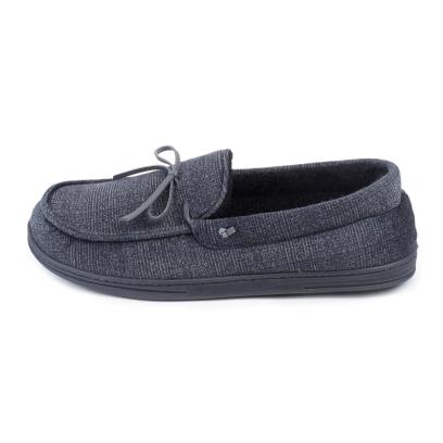 Isotoner Mens Herringbone Velour Moccasin Slippers Grey Check