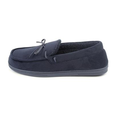 Isotoner Mens Herringbone Velour Moccasin Slippers Navy