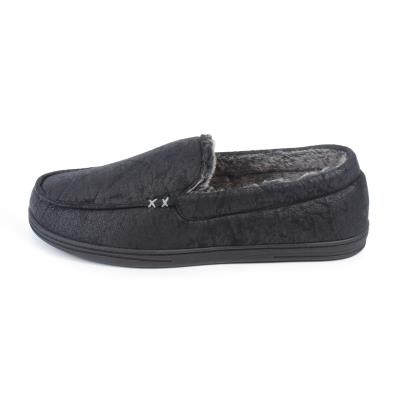 Isotoner Mens Distressed Moccasin Slippers Black