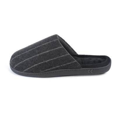 Isotoner Mens Pinstripe Woven Mule Slippers Grey