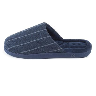 Isotoner Mens Pinstripe Woven Mule Slippers Navy