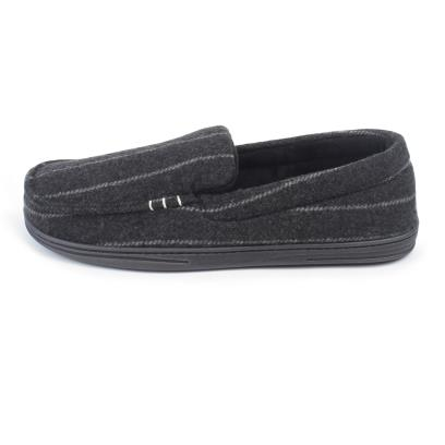 Isotoner Mens Pinstripe Woven Moccasin Slippers Grey