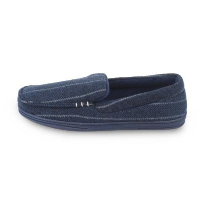 Isotoner Mens Pinstripe Woven Moccasin Slippers Navy