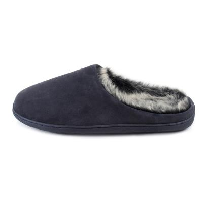 Isotoner Mens Heritage Suede Boxed Mule Slippers Navy
