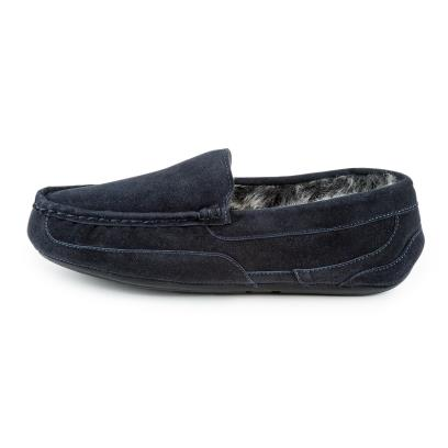 Isotoner Mens Heritage Suede Moccasin Boxed Slippers Navy