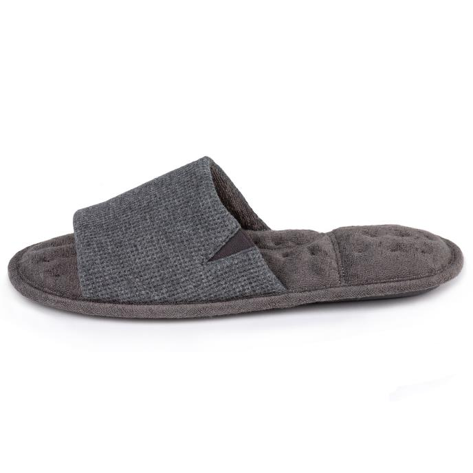 Isotoner Mens Waffle Open Toe Slippers Charcoal