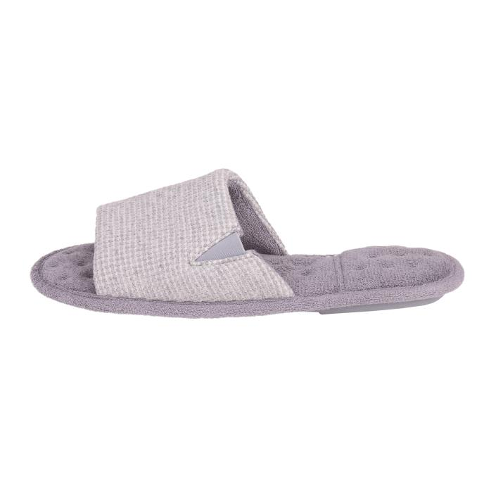 Isotoner Mens Waffle Open Toe Slippers Light Grey