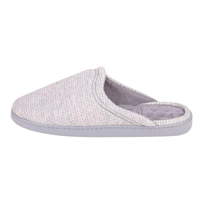 Isotoner Mens Waffle Mule Slippers Light Grey