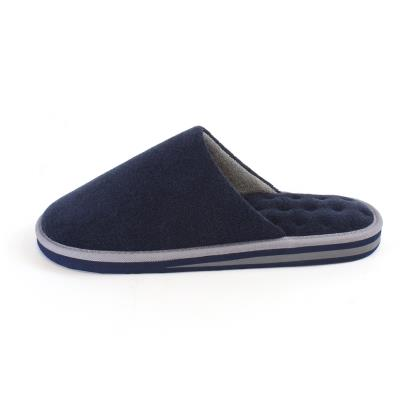 Isotoner Mens Terry Mule Slippers Navy/Grey