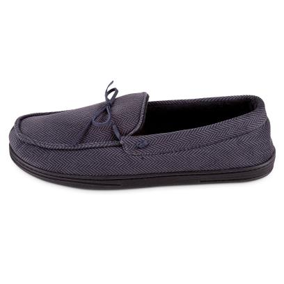 Isotoner Mens Herringbone Velour Moccasin Slippers Grey