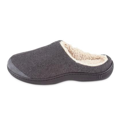 Isotoner Mens Felt Mule With Sherpa Slippers Grey