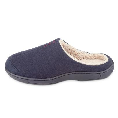 Isotoner Mens Felt Mule With Sherpa Slippers Navy