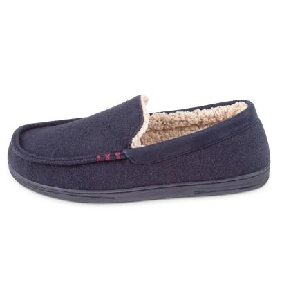 Isotoner Mens Felt Moccasin With Sherpa Slippers Navy