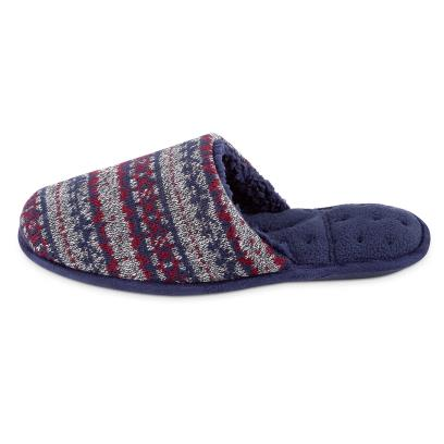 Isotoner Mens Fair Isle Mule Slippers Navy Multi