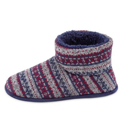 Isotoner Mens Fair Isle Boot Slippers Navy Multi