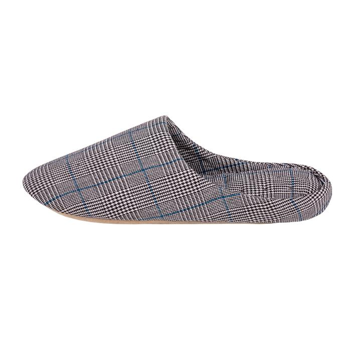 Isotoner Mens Check Mule Slippers Black/White Check