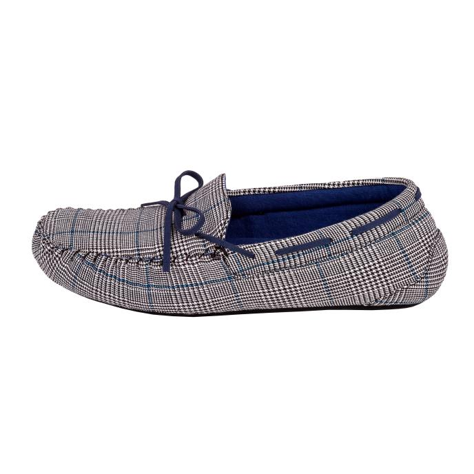 Isotoner Check Moccasin Slippers Black/White Check