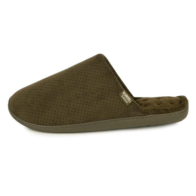 Isotoner Mens Perforated Suedette Mule Slippers Khaki