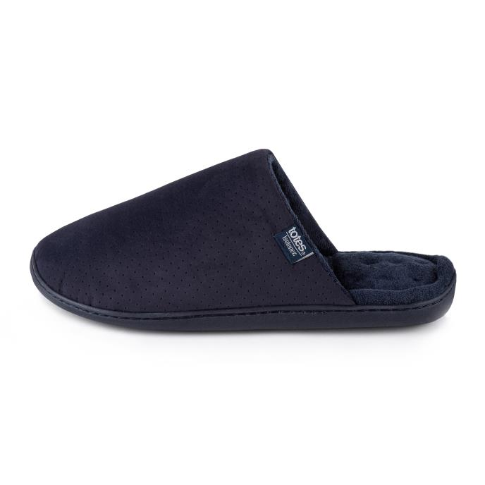 Isotoner Mens Perforated Suedette Mule Slippers Navy