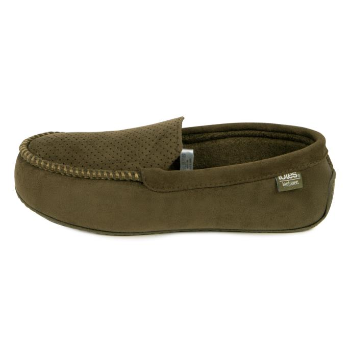 Isotoner Mens Airtex Suedette Moccasin Slippers Khaki