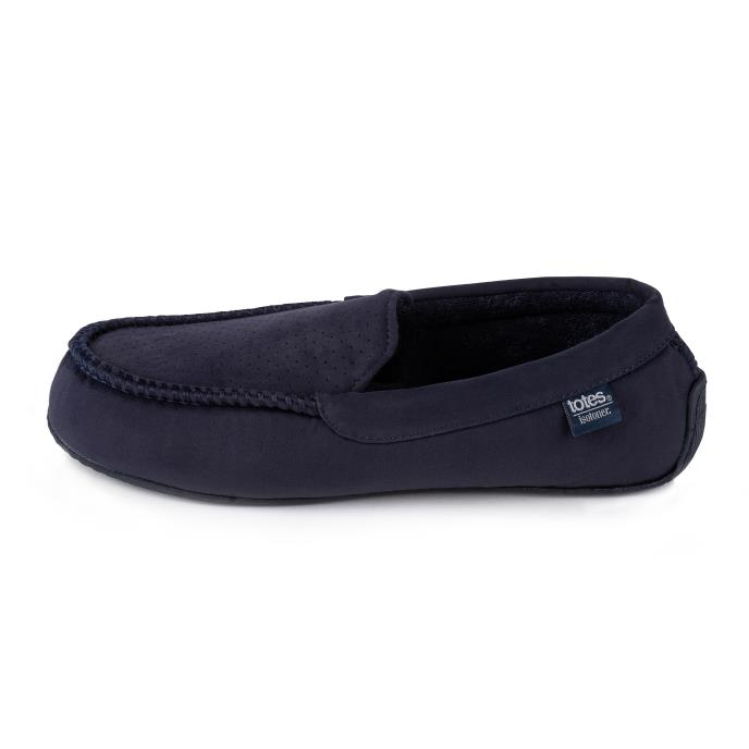 Isotoner Mens Airtext Suedette Moccasin Slippers Navy