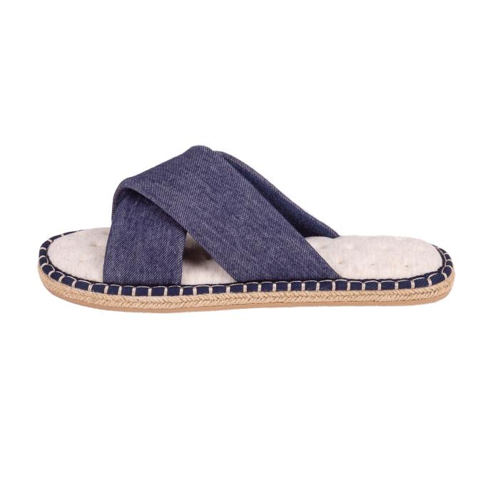 Isotoner Mens Espadrille Cross Front Slippers Blue Stripe