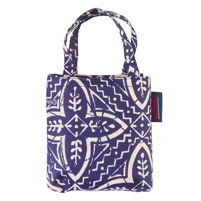 totes Navy Batik Print Shopping Bag