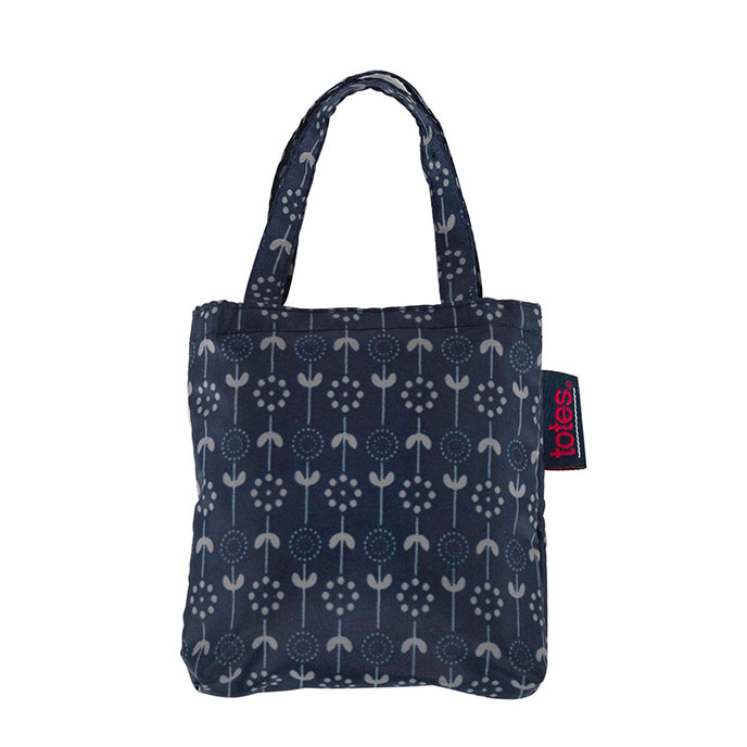 totes Navy Daisy Stem Print Shopping Bag
