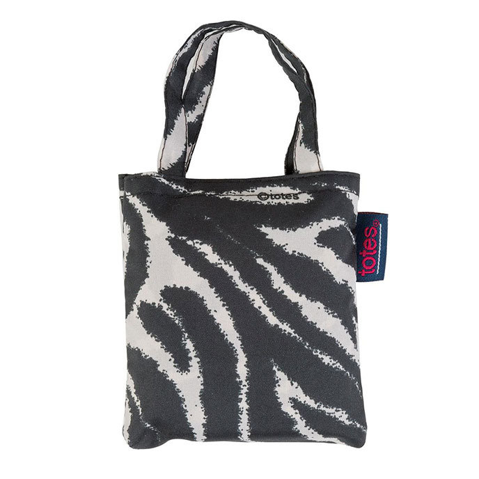 totes Black & Cream Zebra Print Shopping Bag