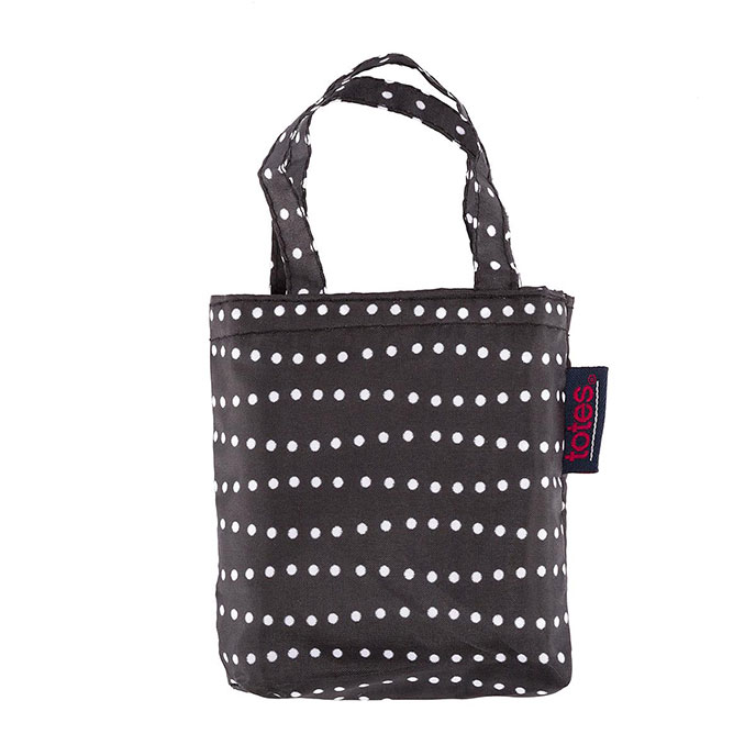 totes B&W Wavy Dots Shopping Bag