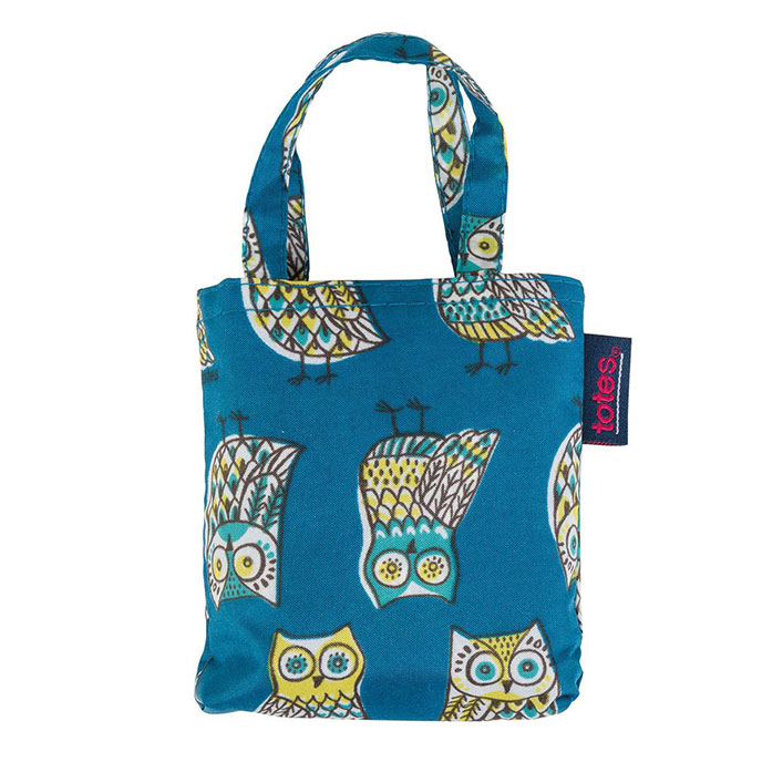 totes Owl Print Shopping Bag