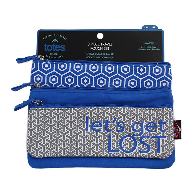 totes 3 Piece Zip Pouch Set