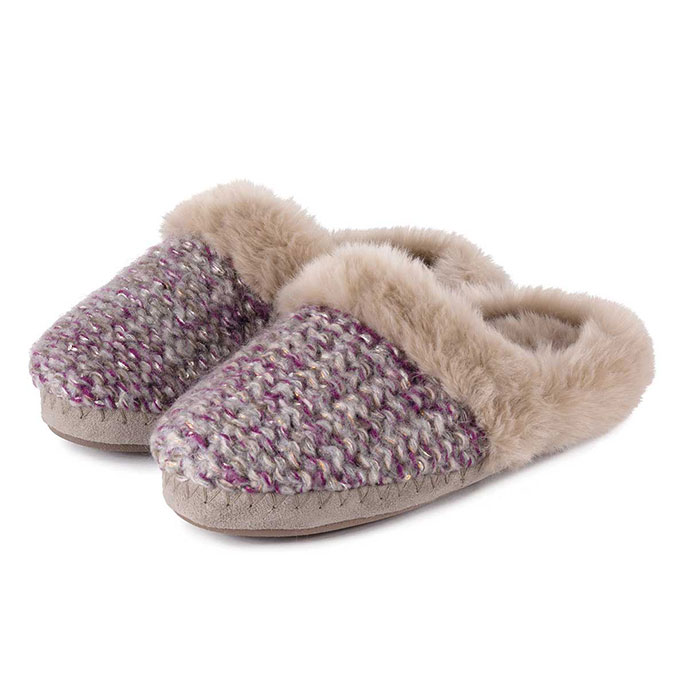 totes Ladies Lurex Knit Mule Slippers Purple/Gold