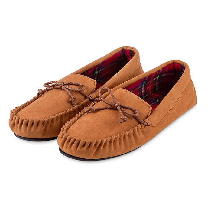 totes Mens Check Lined Suedette Moccasin Slippers Chestnut Check