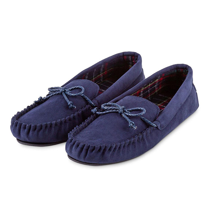 totes Mens Check Lined Suedette Moccasin Slippers Navy Check