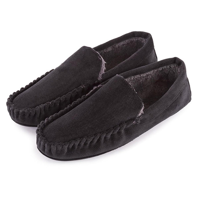 totes Mens Cord Moccasin Slippers Black