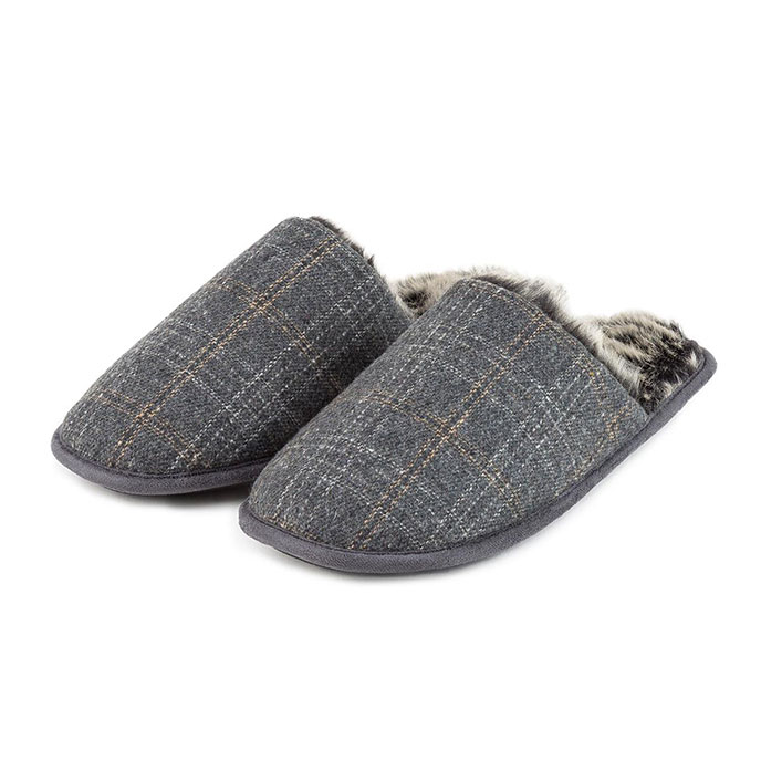 totes Mens Fur Lined Check Mule Slippers Grey Check