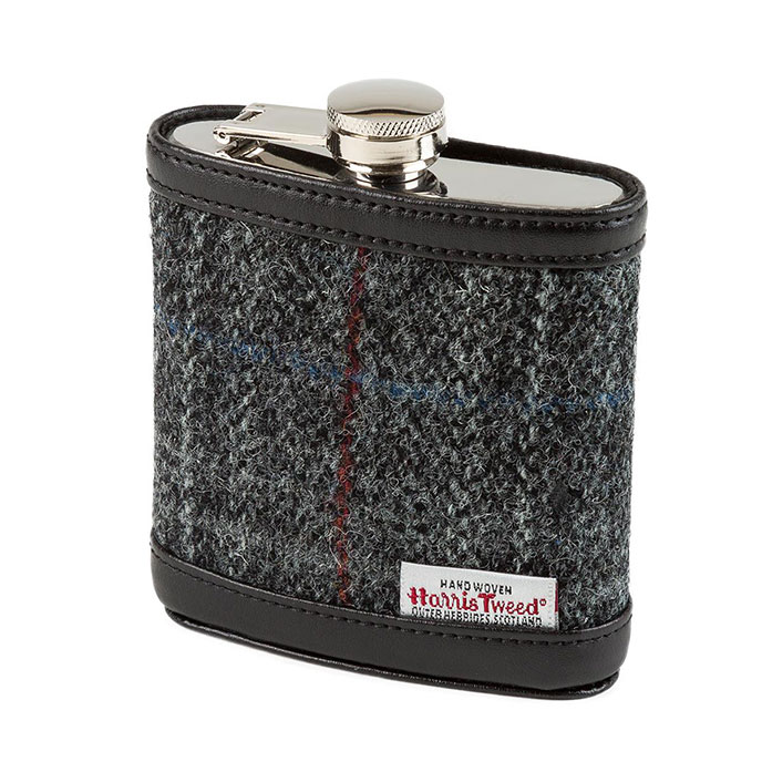 totes Mens Harris Tweed Hip Flask Charcoal Tweed
