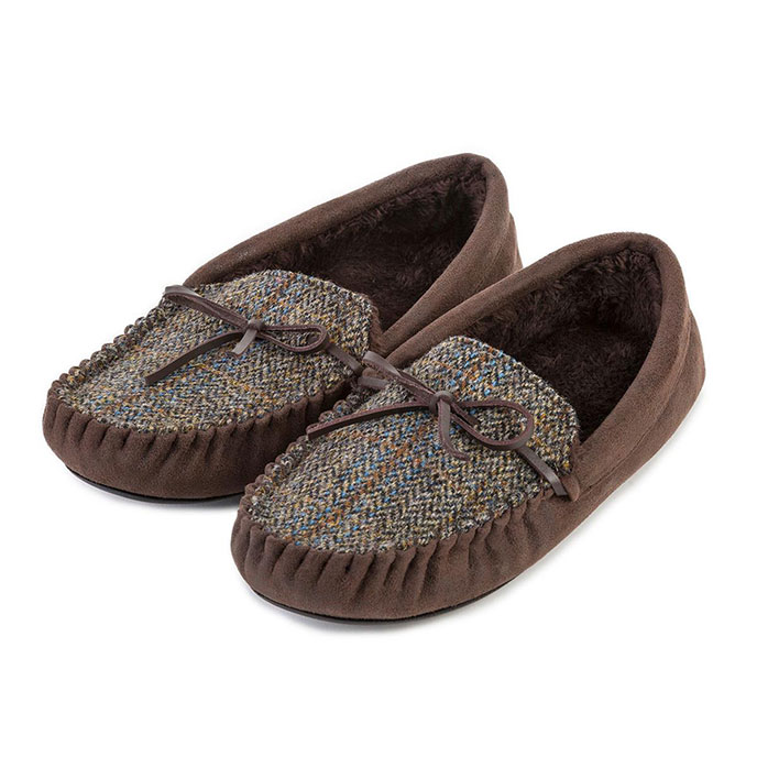 totes Mens Harris Tweed Moccasin Slippers  Harris Tweed