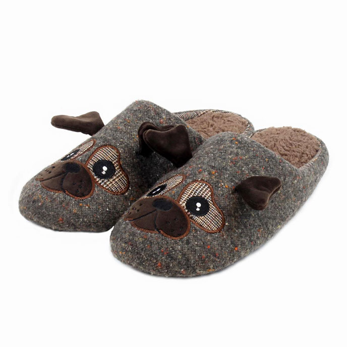 totes Mens Novelty Mule Slippers Brown Pug