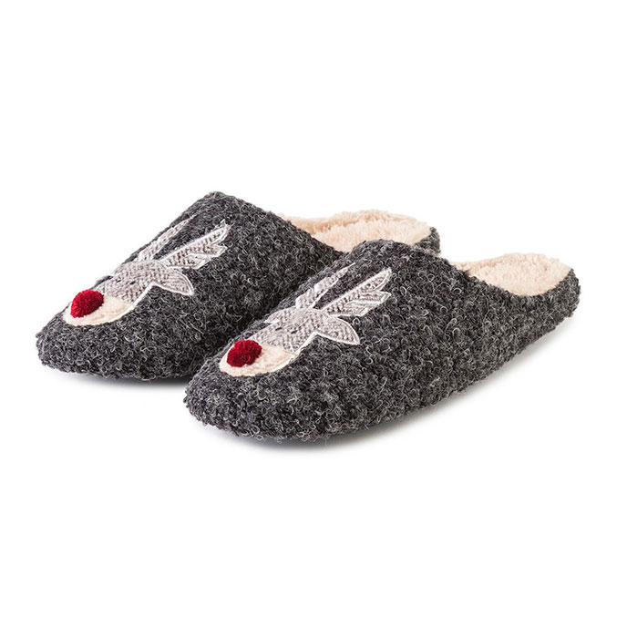 totes Mens Reindeer Novelty Mule Slippers Grey